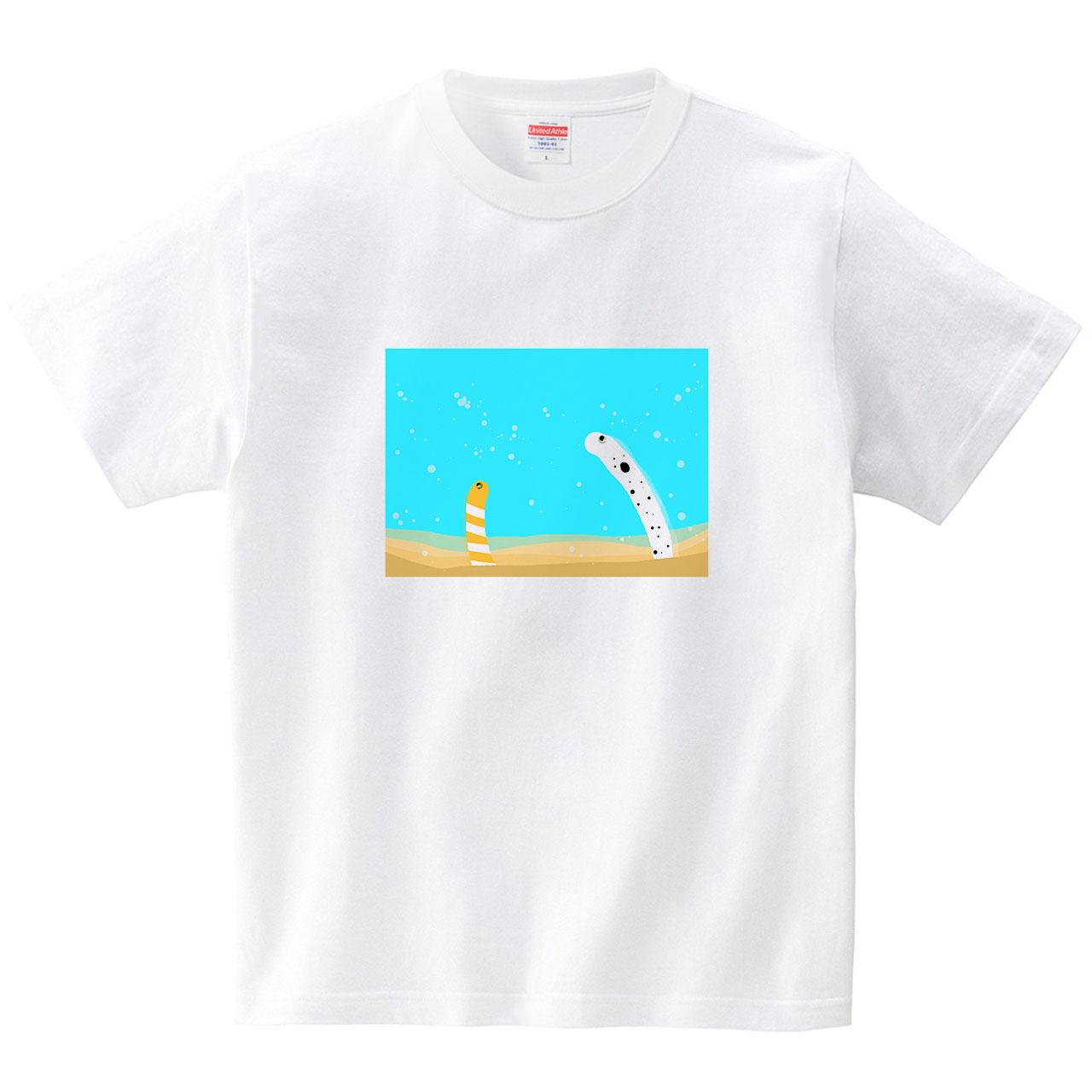 ちんあなご・にしきあなご(Tシャツ)(Tシャツ・ホワイト)(あおまんぼう)