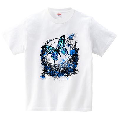 血痕植物枠にアゲハ蝶 青(Tシャツ・ホワイト)(冴木みやこ)