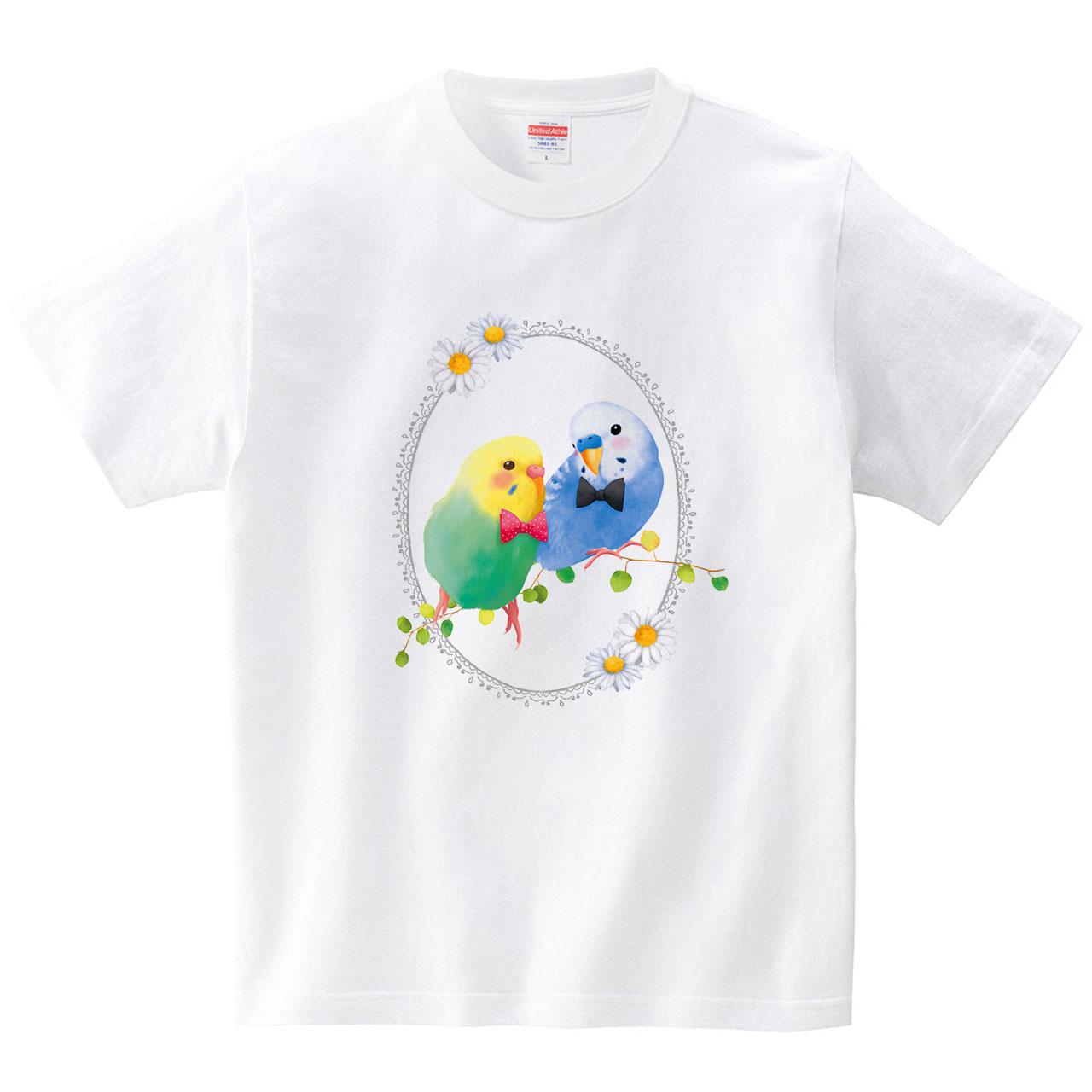 Ribbon Budgies(T-shirt)(Tシャツ・ホワイト)(イシイミホ)