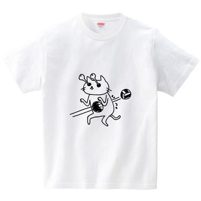 ボールがネコに貫通(Tシャツ・ホワイト)(オワリ)