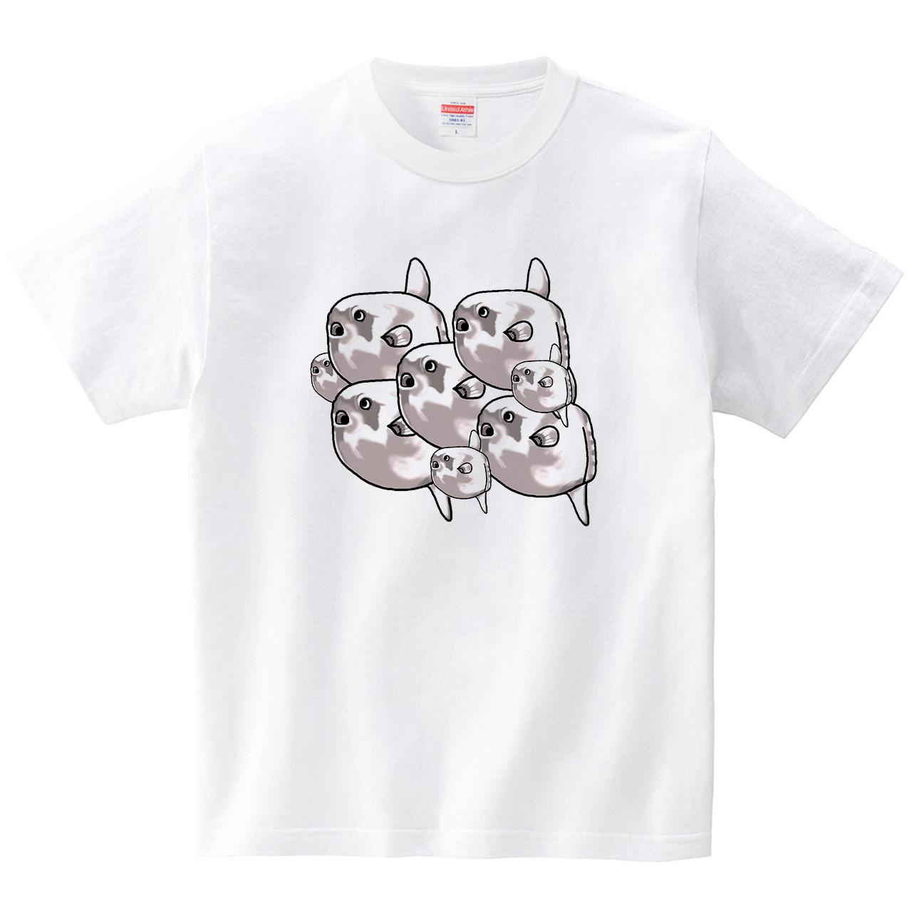 マンボウずらり(Tシャツ・ホワイト)(あおまんぼう)