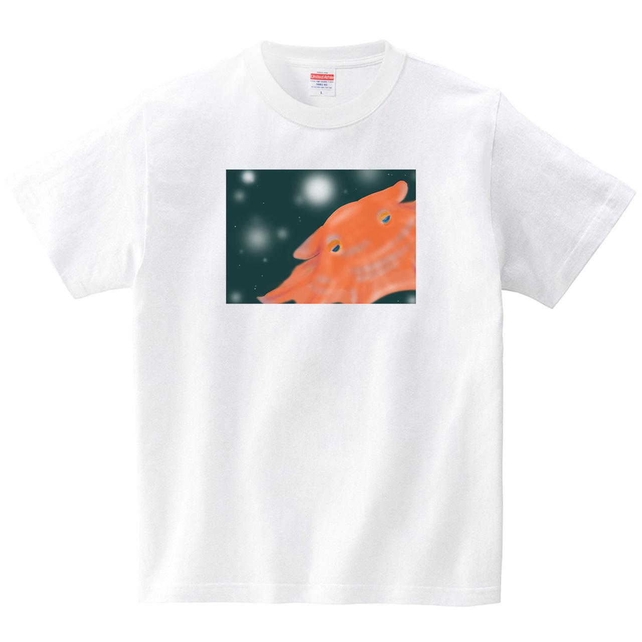 深海のメンダコ(Tシャツ・ホワイト)(あおまんぼう)