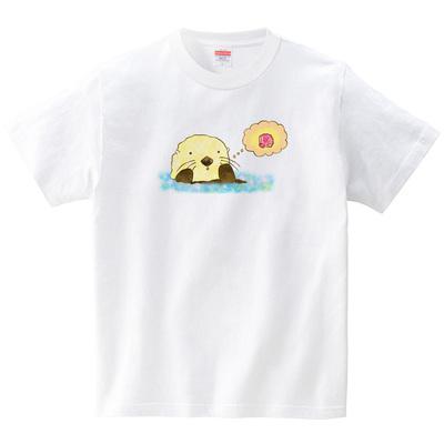ふんわりラッコ(Tシャツ・ホワイト)(あおまんぼう)