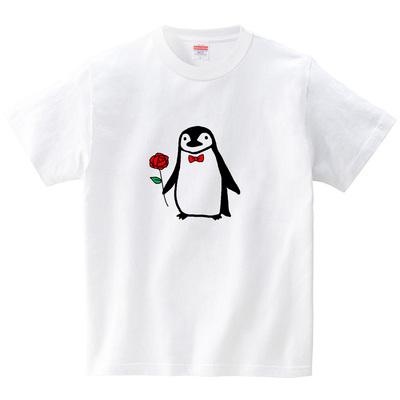 おめかしヒゲペンギン(Tシャツ・ホワイト)(あおまんぼう)
