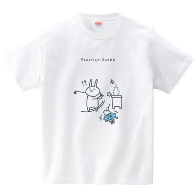 ウサギのゴルフ練習(Tシャツ・ホワイト)(オワリ)