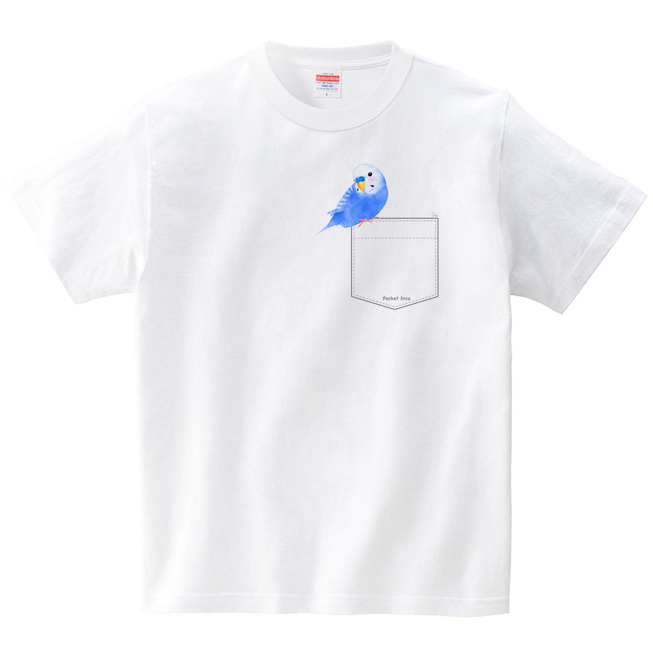 ぽけインコ3(Pocket Inco)(Tシャツ・ホワイト)(イシイミホ)