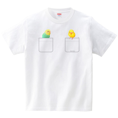 ぽけインコ4(Pocket Inco)(Tシャツ・ホワイト)(イシイミホ)