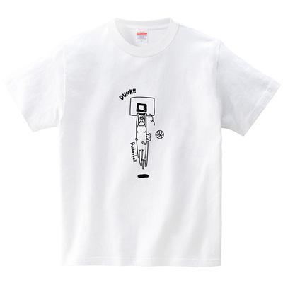 ネコのダンクシュート(Tシャツ・ホワイト)(オワリ)