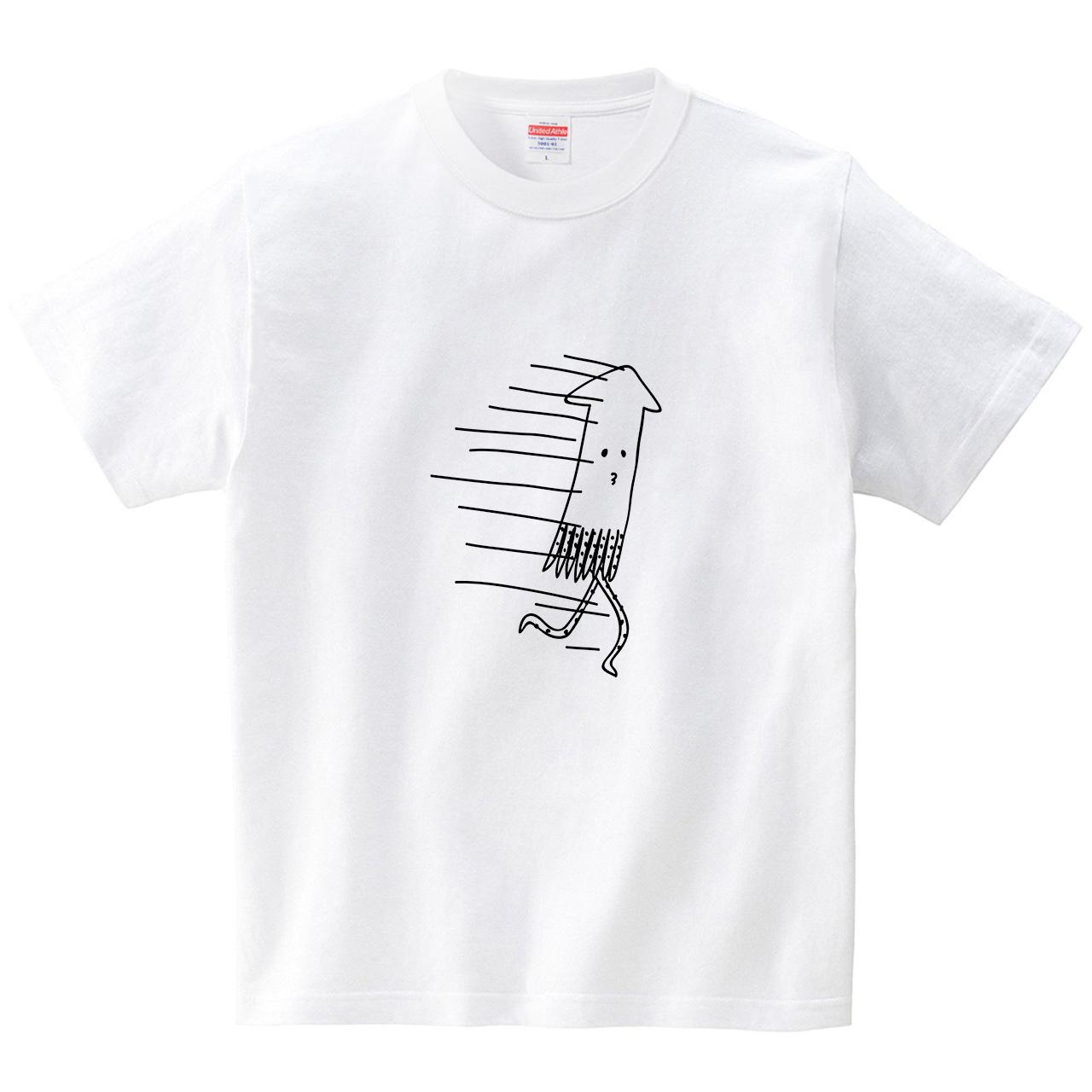 走るイカ(Tシャツ・ホワイト)(オワリ)