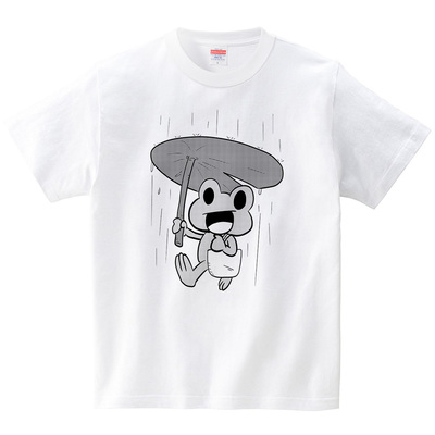 おでかけカエル(Tシャツ・ホワイト)(アシタモ)
