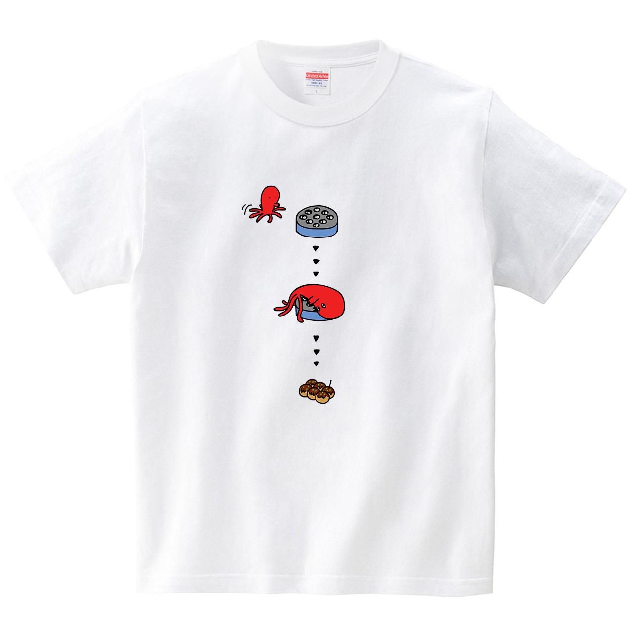 タコがタコ焼き器へ向かう(Tシャツ・ホワイト)(オワリ)