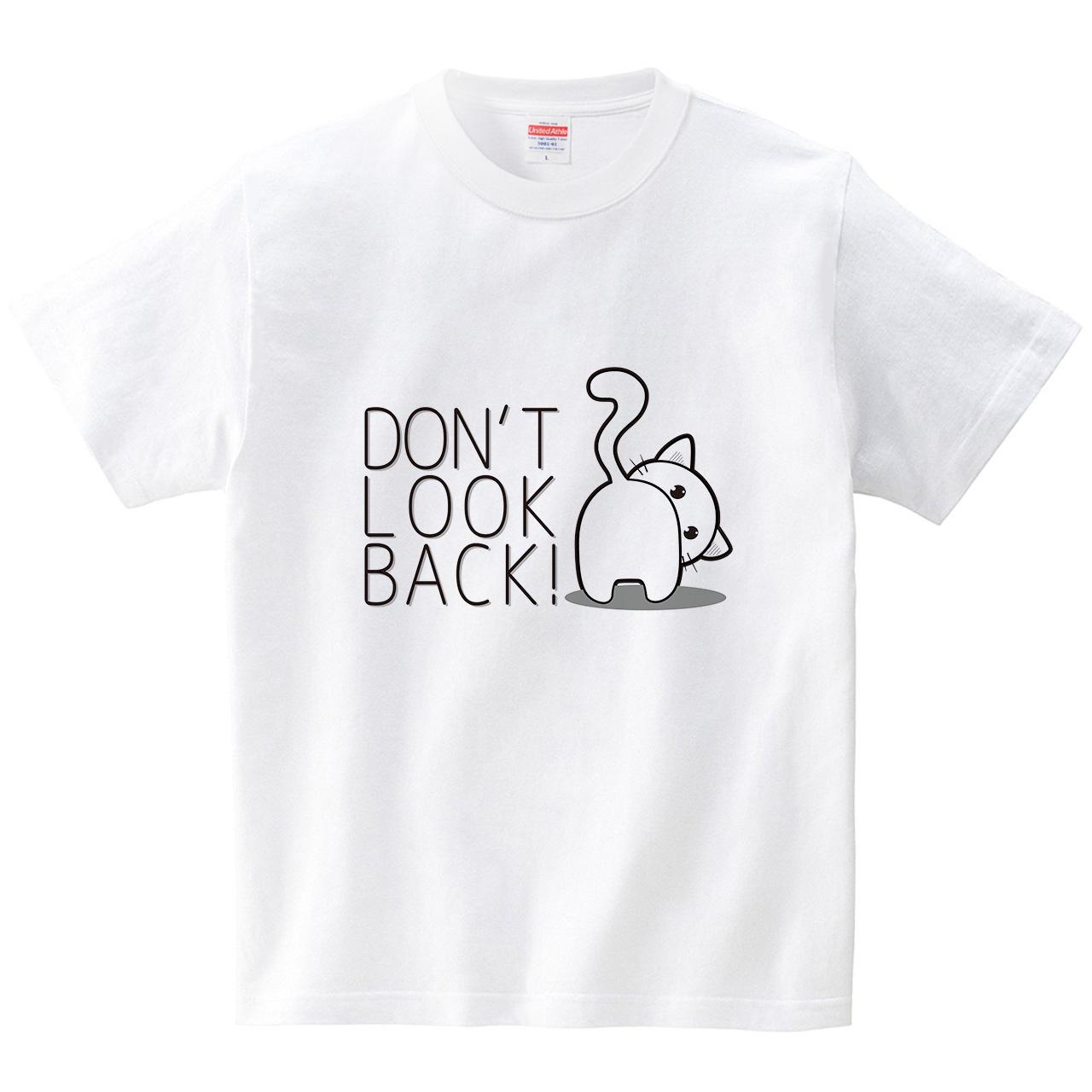 白ねこペロ Don't look back(Tシャツ・ホワイト)(シー・ディー・ディー)