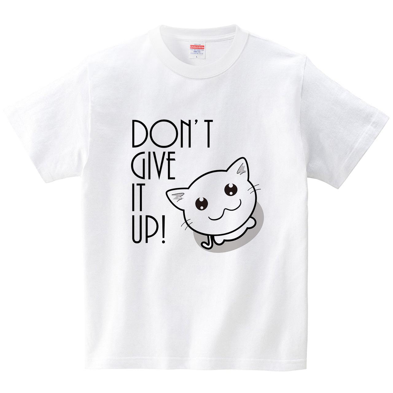 白ねこペロ Don't give it up!(Tシャツ・ホワイト)(シー・ディー・ディー)