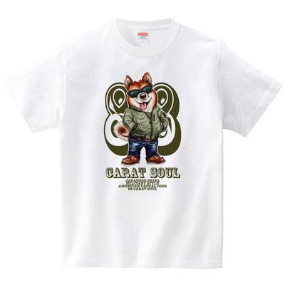 アメカジ・ドッグス <柴犬>(Tシャツ・ホワイト)(こいでゆーじ)