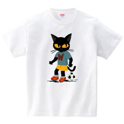 サッカー猫(Tシャツ・ホワイト)(BATKEI)