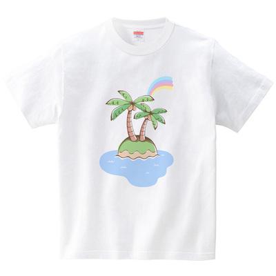 ハテナポップ 南の島(Tシャツ・ホワイト)(tsukamotojunko)