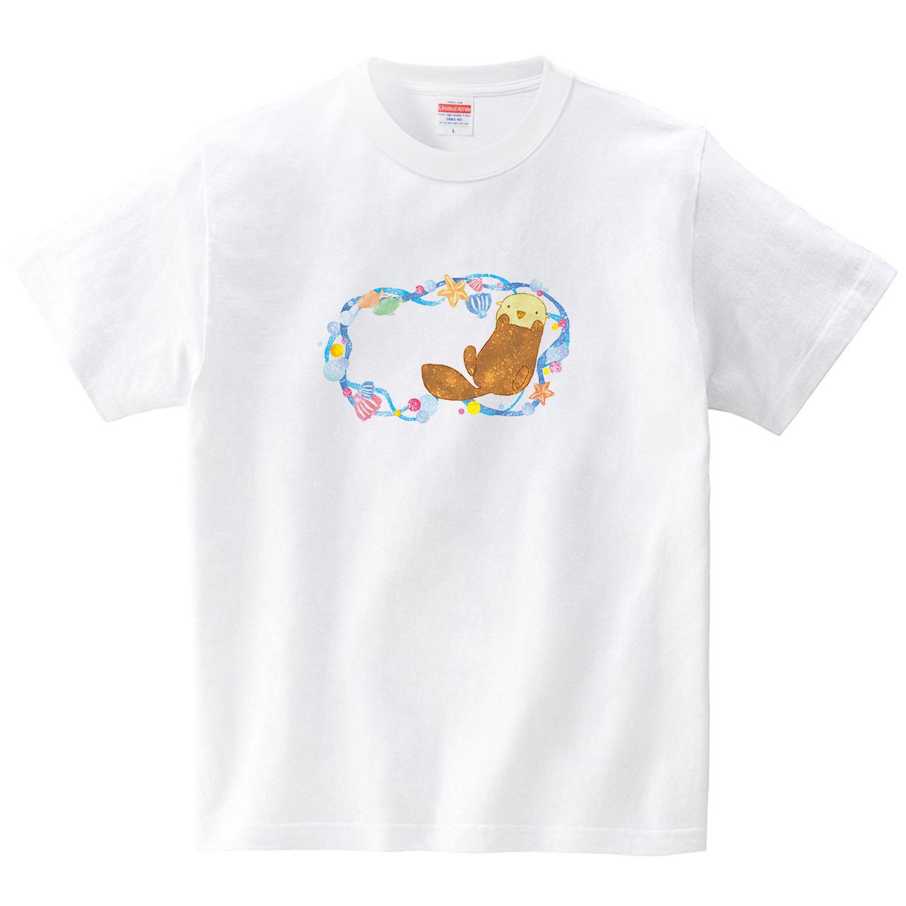 夏色ラッコ(Tシャツ・ホワイト)(あおまんぼう)