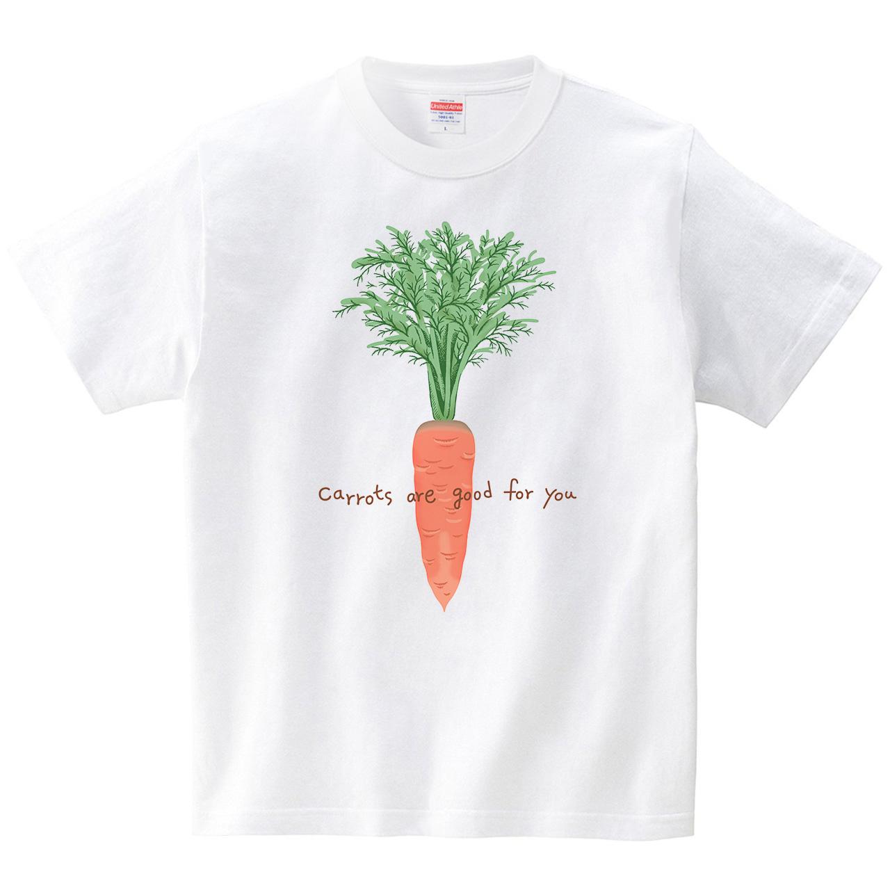 ハテナポップ にんじん(Tシャツ・ホワイト)(tsukamotojunko)