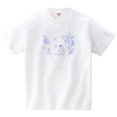 雪降る日のペンギンちゃん(Tシャツ・ホワイト)(あおまんぼう)