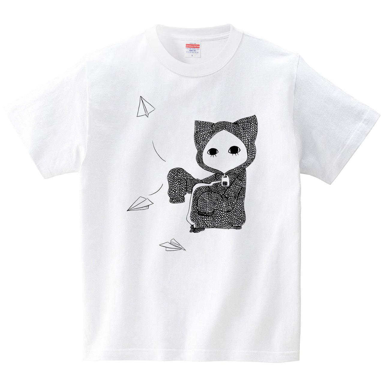 紙飛行機キズねこ(Tシャツ・ホワイト)(桃原)