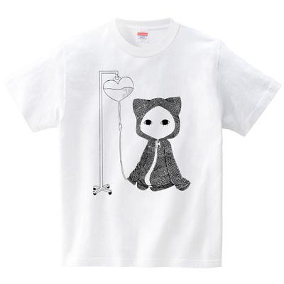 点滴キズねこ(Tシャツ・ホワイト)(桃原)