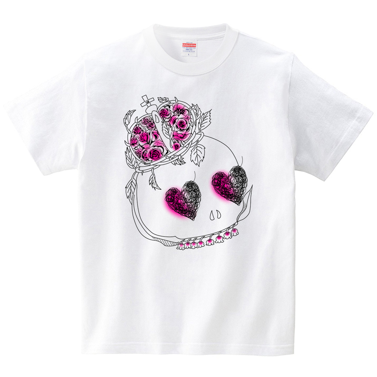薔薇髑髏(Tシャツ・ホワイト)(桃原)