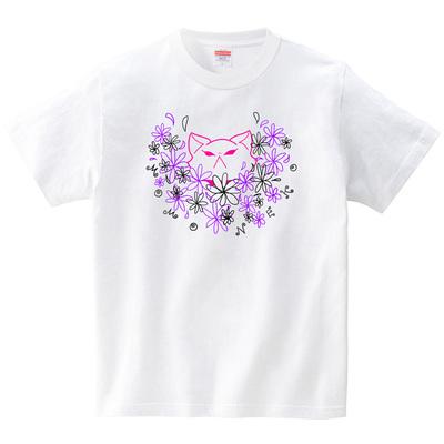 花畑ももねこ(Tシャツ・ホワイト)(桃原)