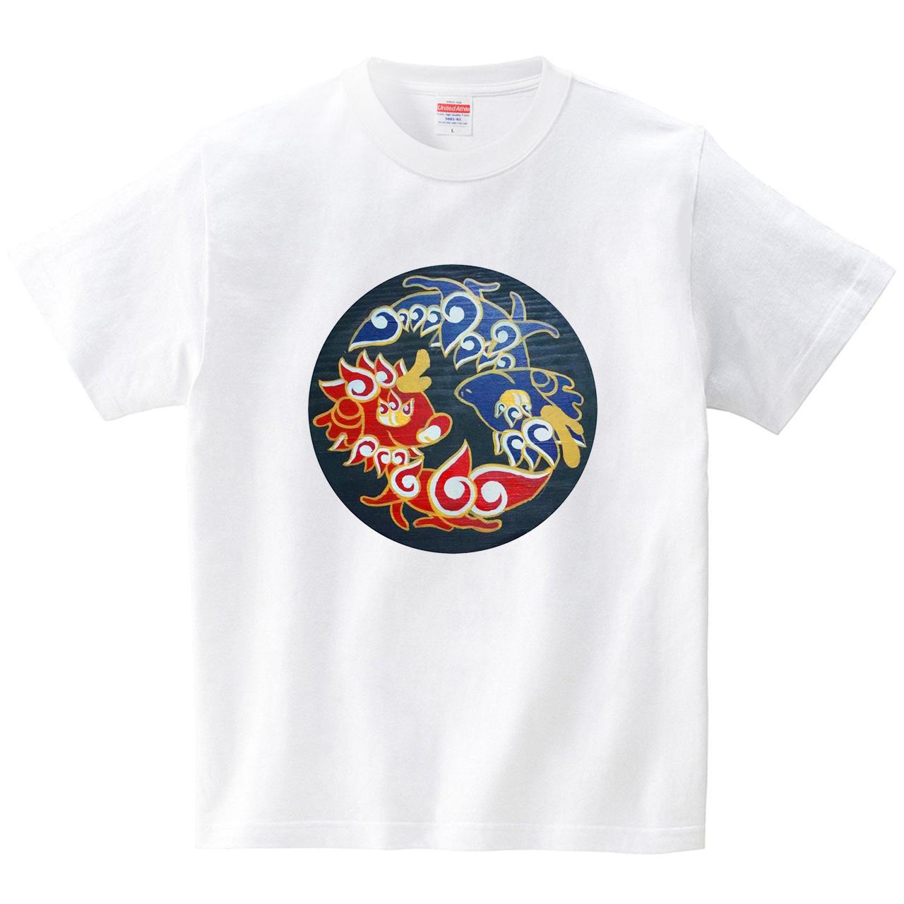 ちび龍&ちび獅子(Tシャツ・ホワイト)(蟲人)