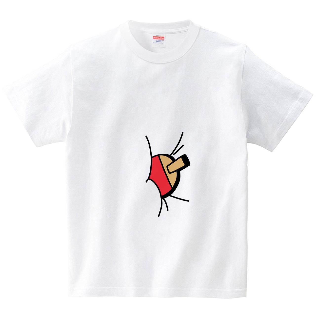 お腹に卓球ラケット(Tシャツ・ホワイト)(オワリ)
