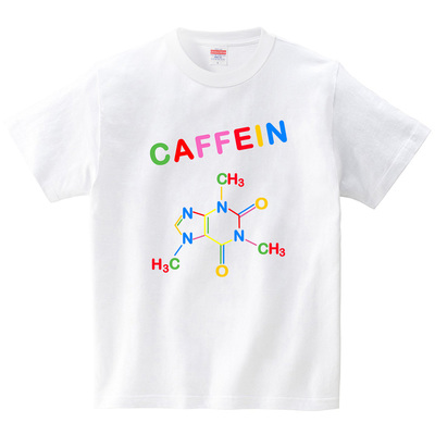 踊りだしそうなCAFFEIA構造式(Tシャツ・ホワイト)(貢利宋)