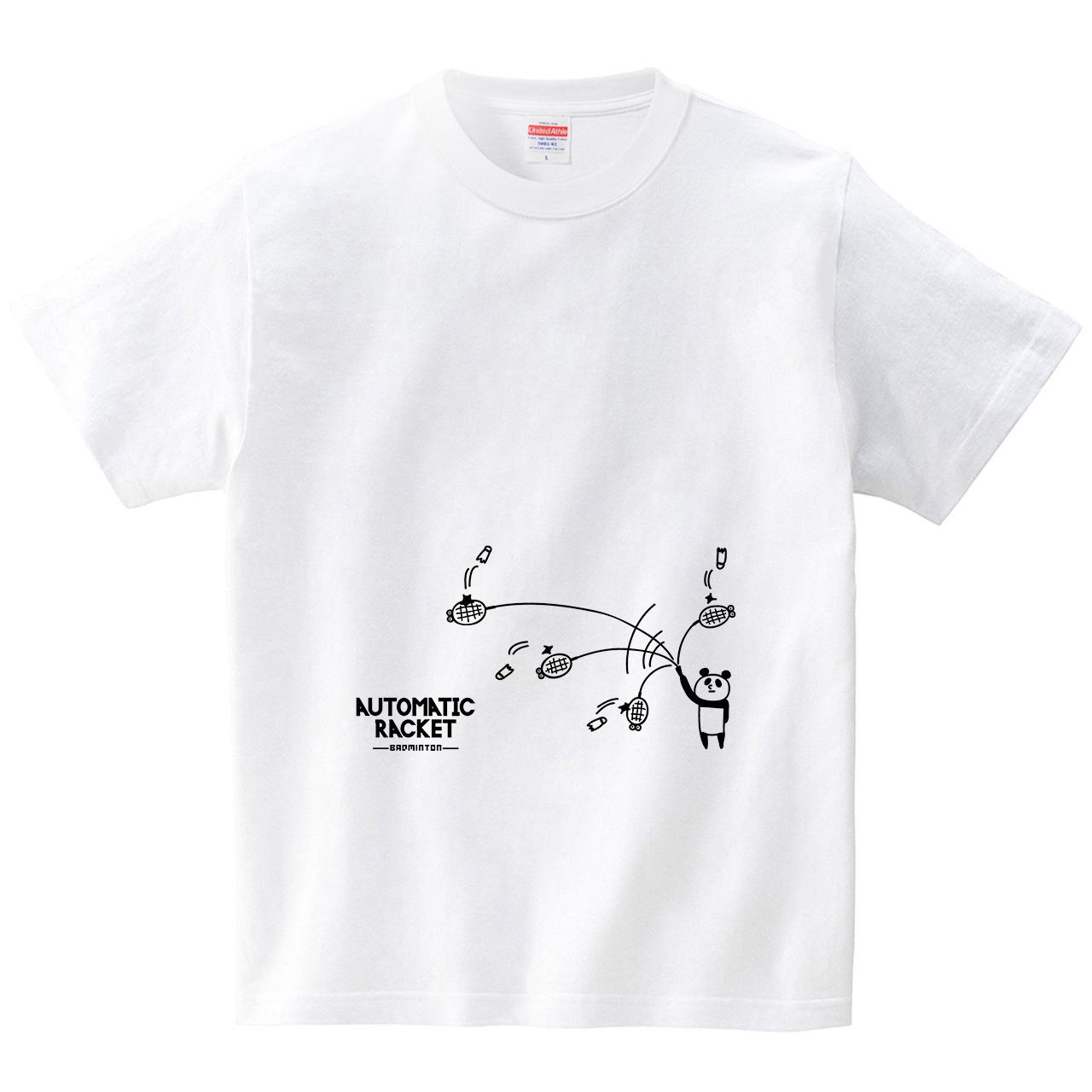 バドミントンとオートラケット(Tシャツ・ホワイト)(オワリ)