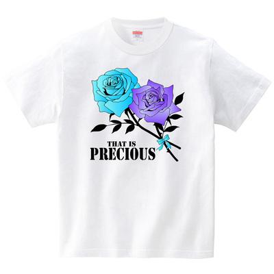 青と紫のバラ プレシャスロゴ(Tシャツ・ホワイト)(ヒカル)