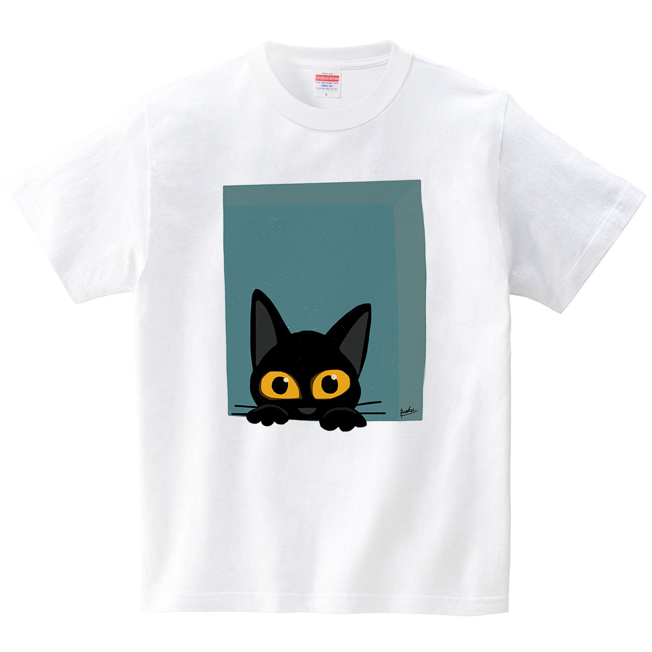 窓から黒猫(Tシャツ・ホワイト)(BATKEI)