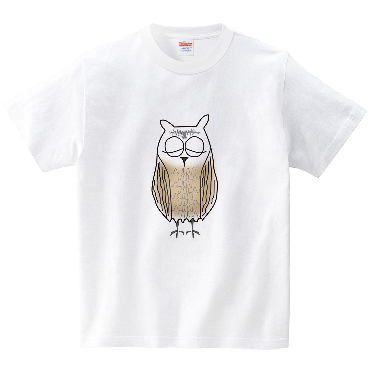 ミミズクさん(Tシャツ・ホワイト)(CHATON_CATON_T)