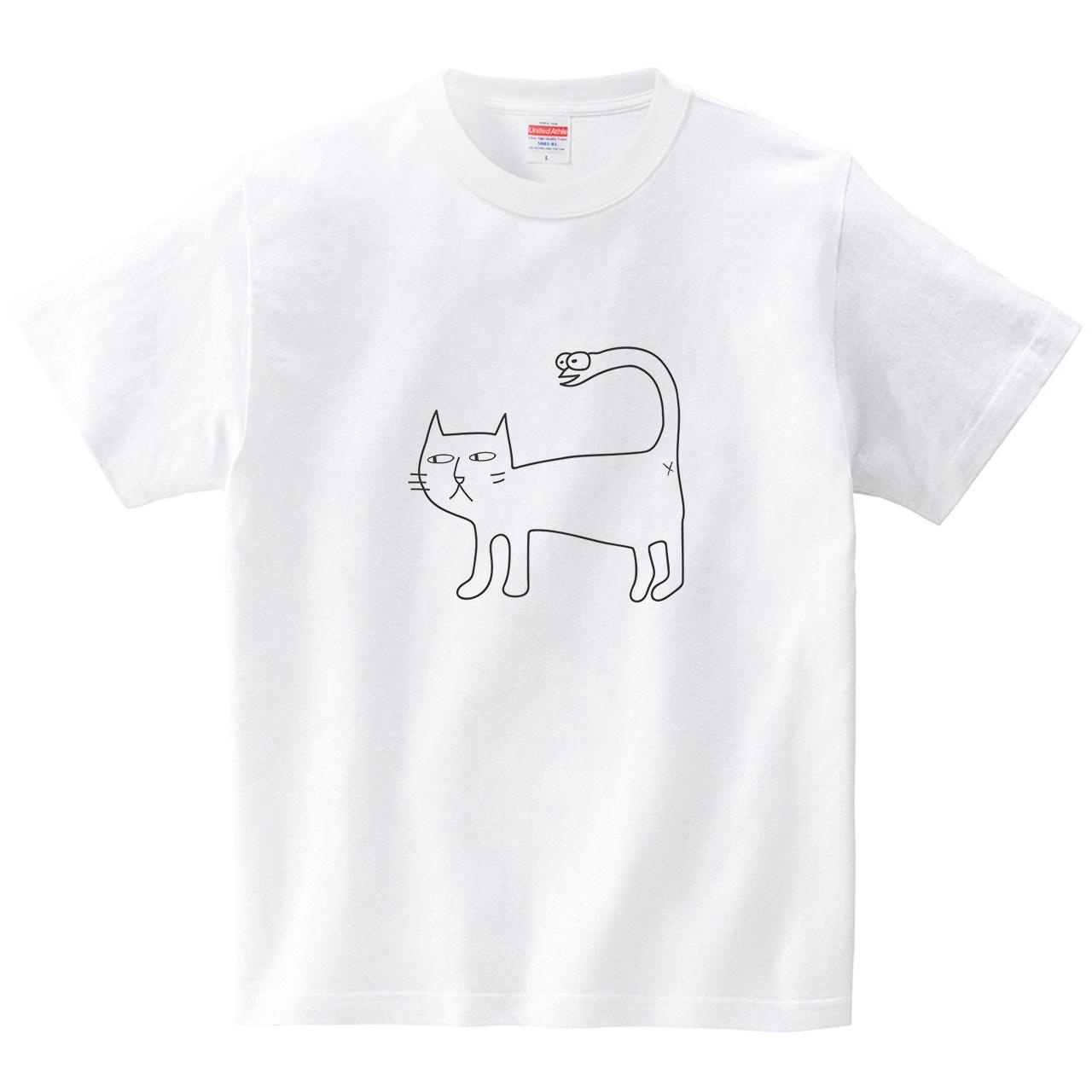 ヘビにゃん(Tシャツ・ホワイト)(CHATON_CATON_T)