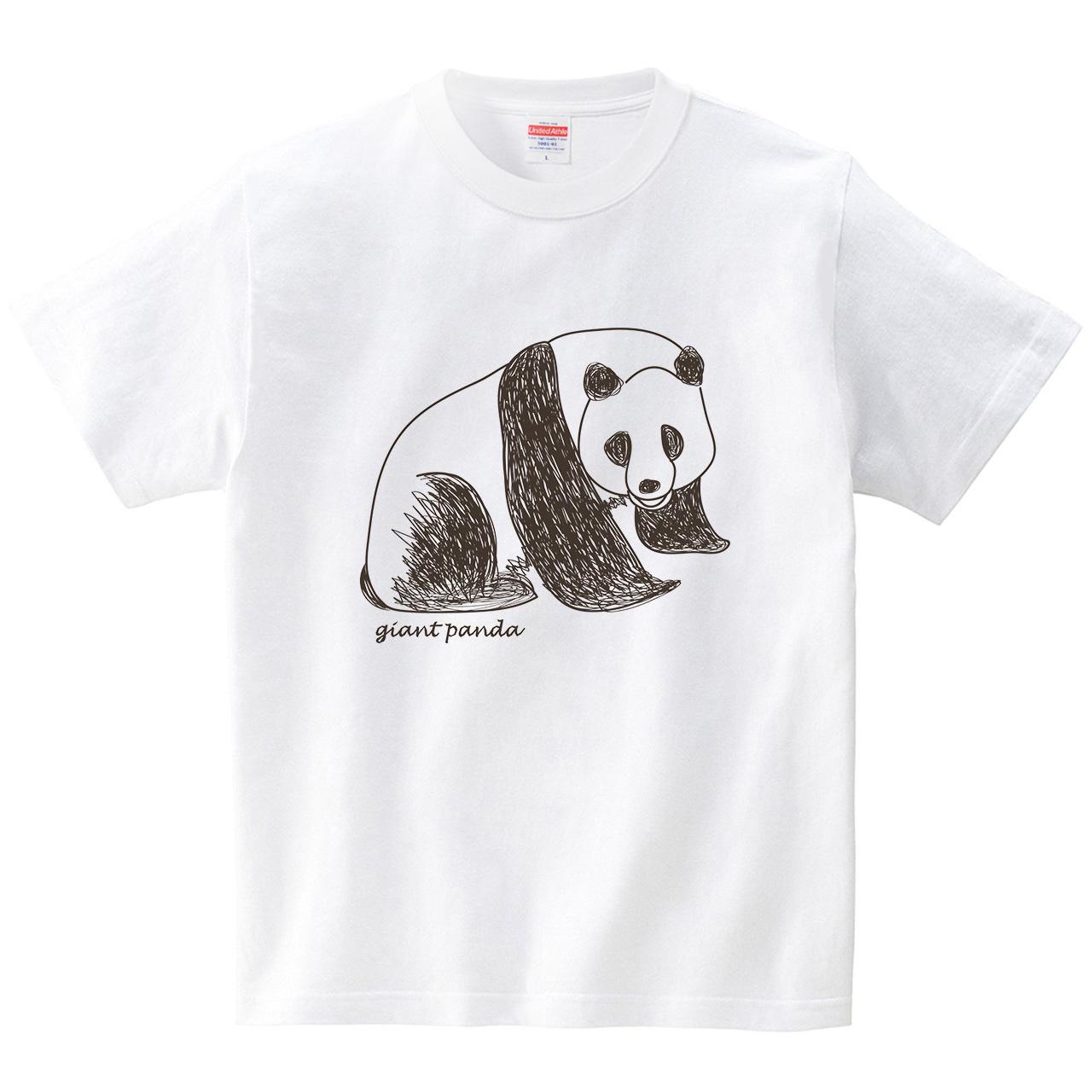 ジャイアントパンダ(Tシャツ・ホワイト)(CHATON_CATON_T)