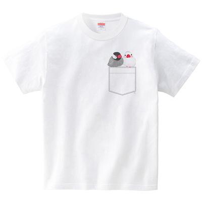 ポケット文鳥(Tシャツ・ホワイト)(イシイミホ)