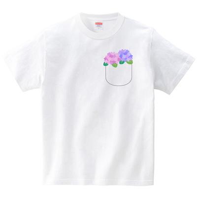 ポケット紫陽花(Tシャツ・ホワイト)(イシイミホ)