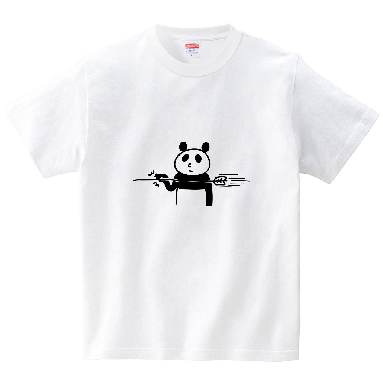 矢をつまむパンダ(Tシャツ・ホワイト)(オワリ)