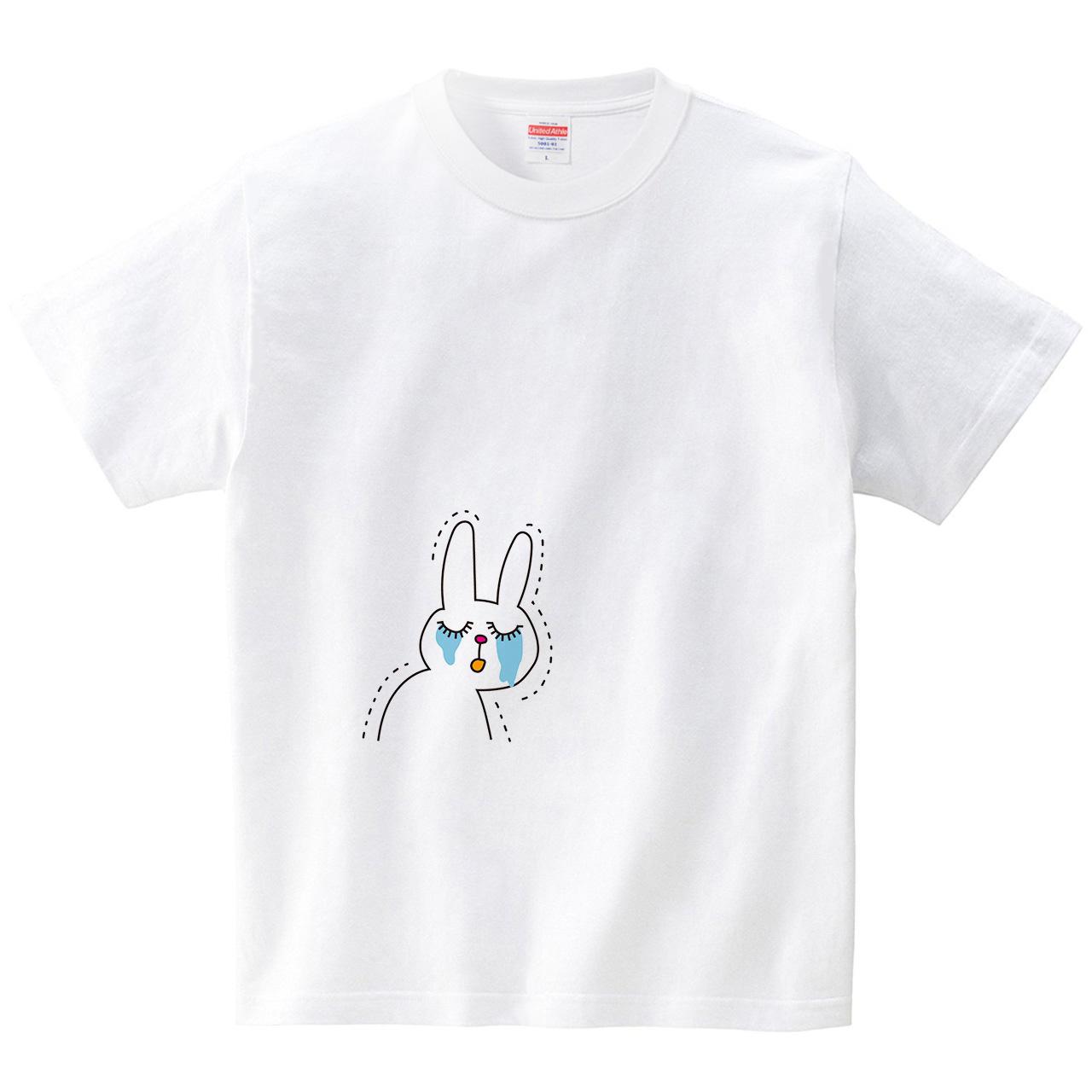 悲しいうさぎさん(Tシャツ・ホワイト)(CHATON_CATON_T)