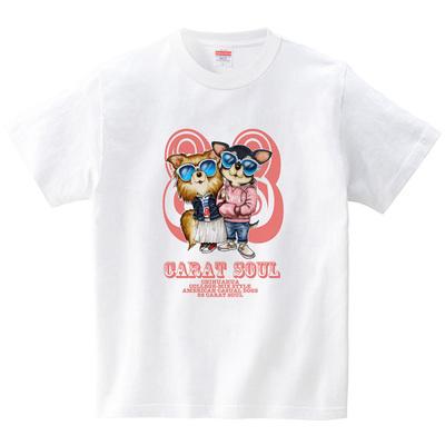 アメカジ・ドッグス <チワワ>(Tシャツ・ホワイト)(こいでゆーじ)