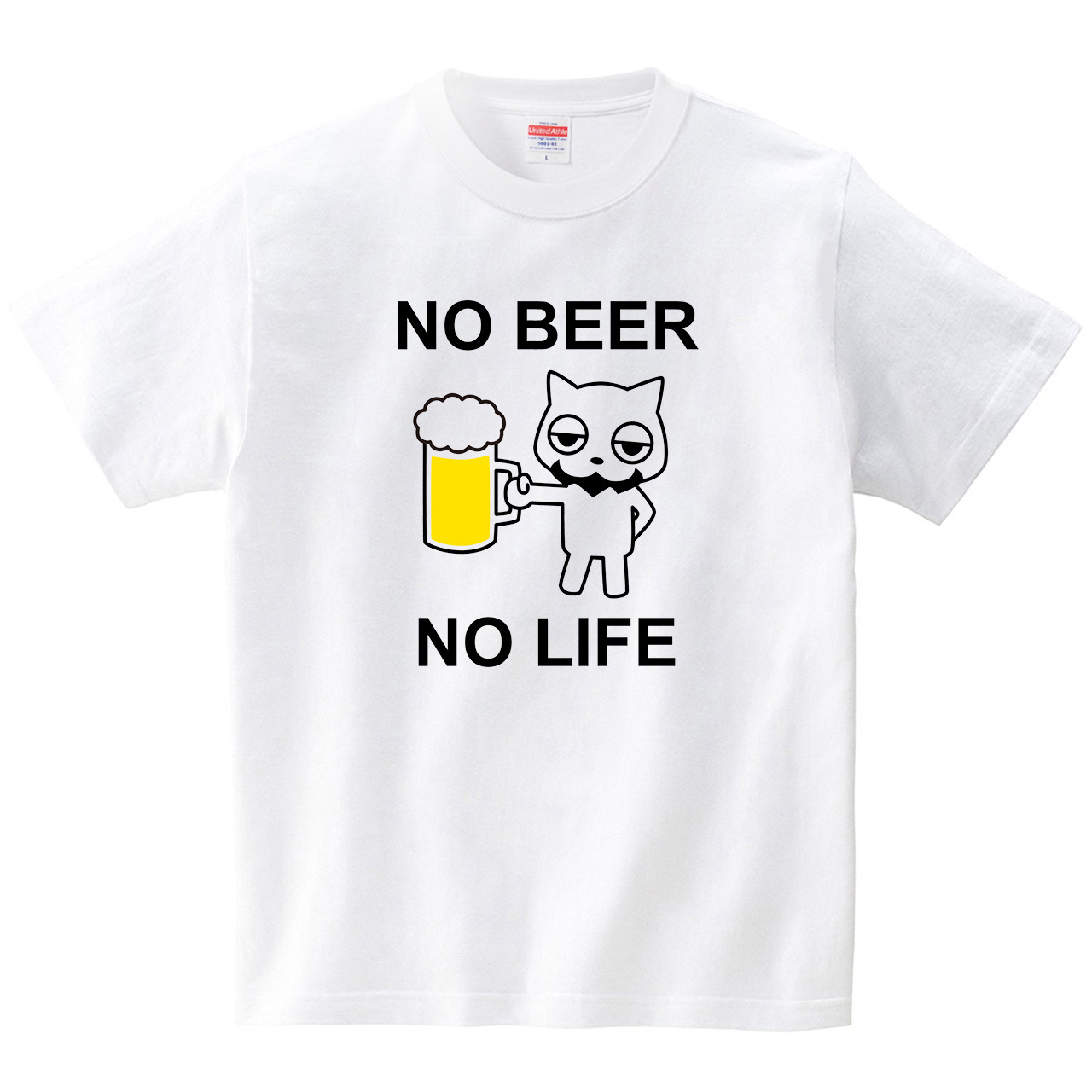 NO BEER NO LIFE(Tシャツ・ホワイト)(あごひげねこ)