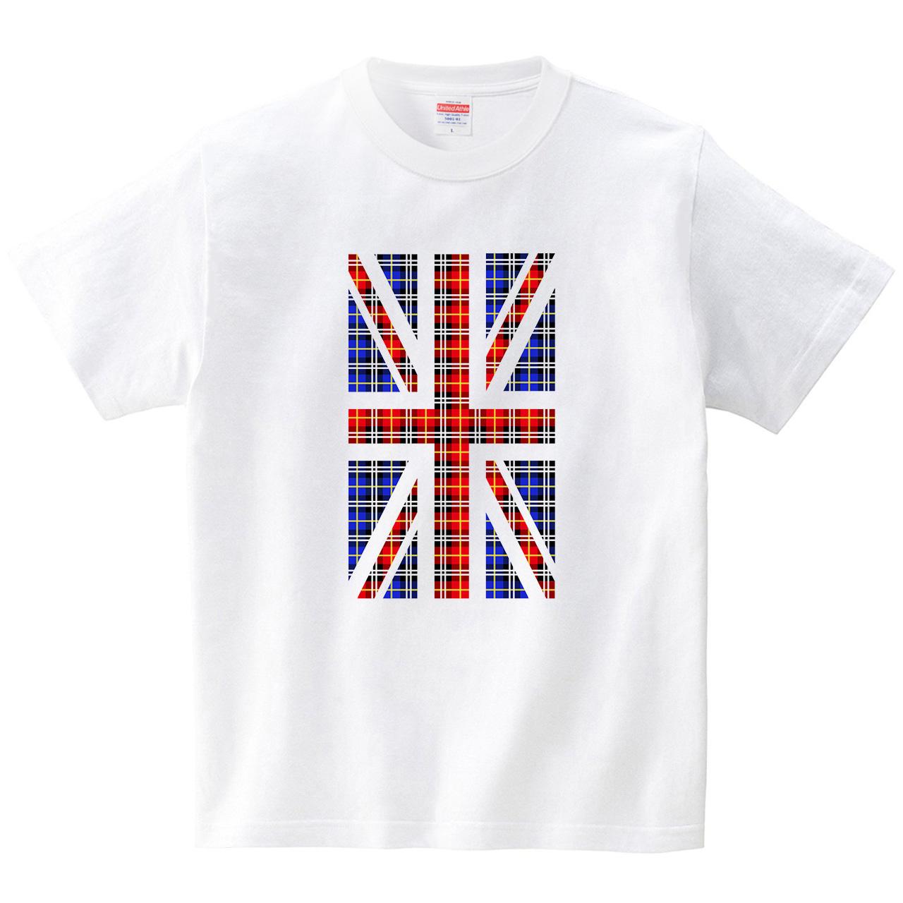 タータンなユニオンジャック(Tシャツ・ホワイト)(CHATON_CATON_T)