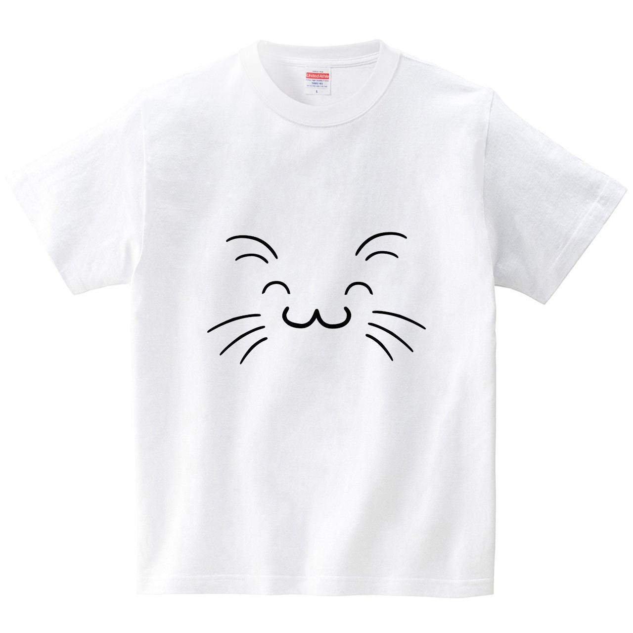 猫顔どアップ その5(Tシャツ・ホワイト)(筆文字屋 みやT)