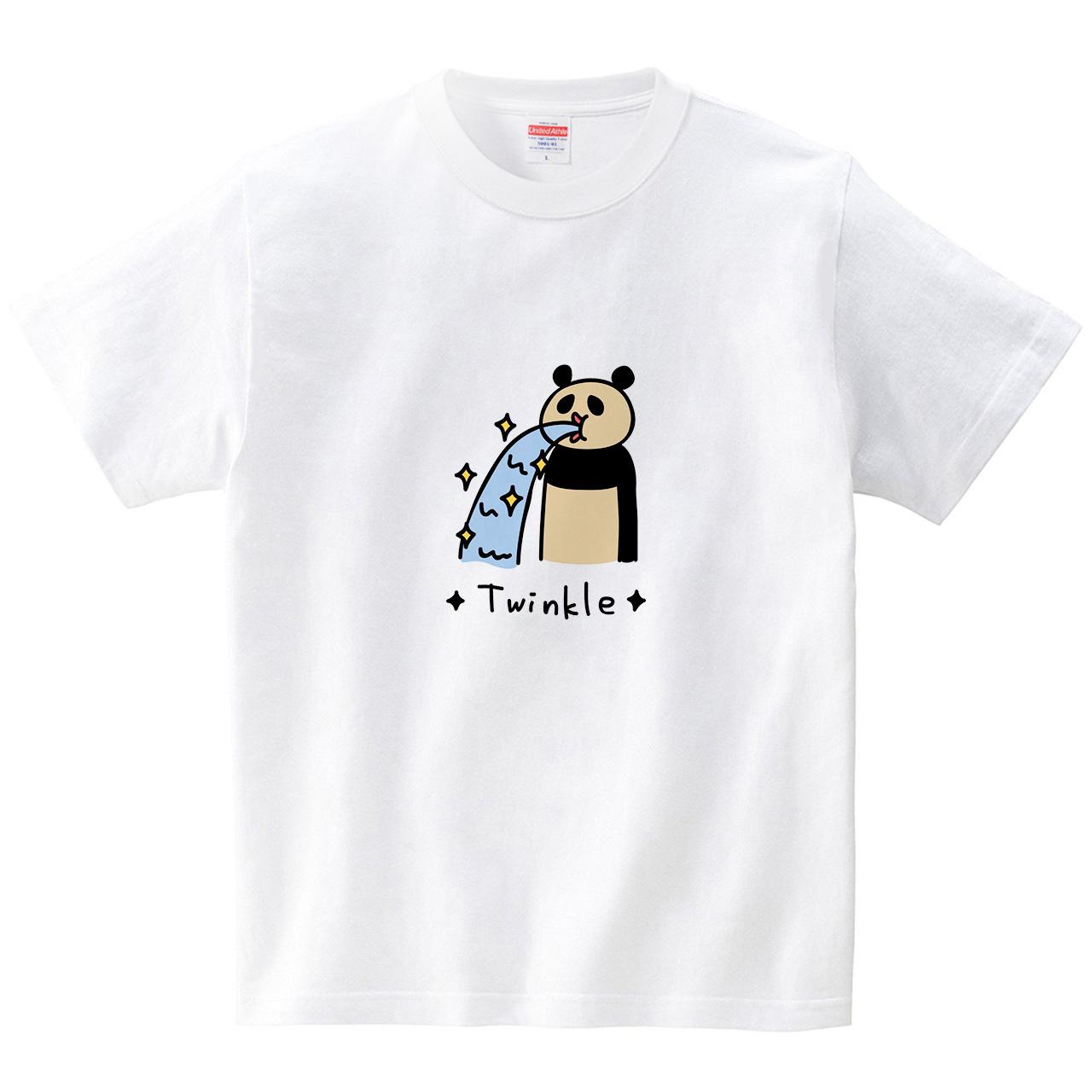 キラキラするパンダ(Tシャツ・ホワイト)(オワリ)