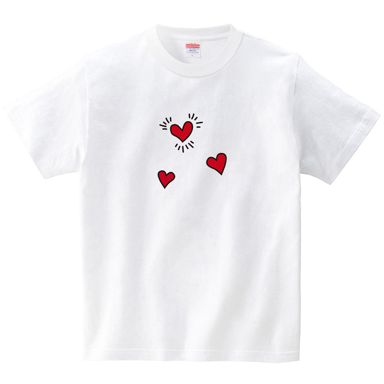 LOVEなハートさん(Tシャツ・ホワイト)(CHATON_CATON_T)