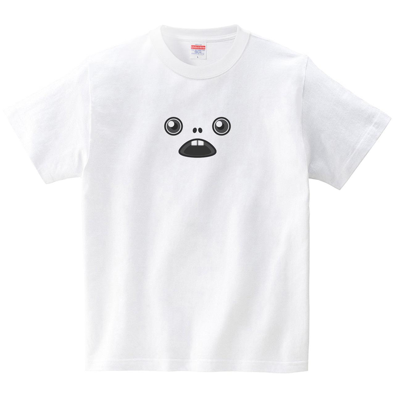 きもかわフェイス(Tシャツ・ホワイト)(犬田猫三郎)