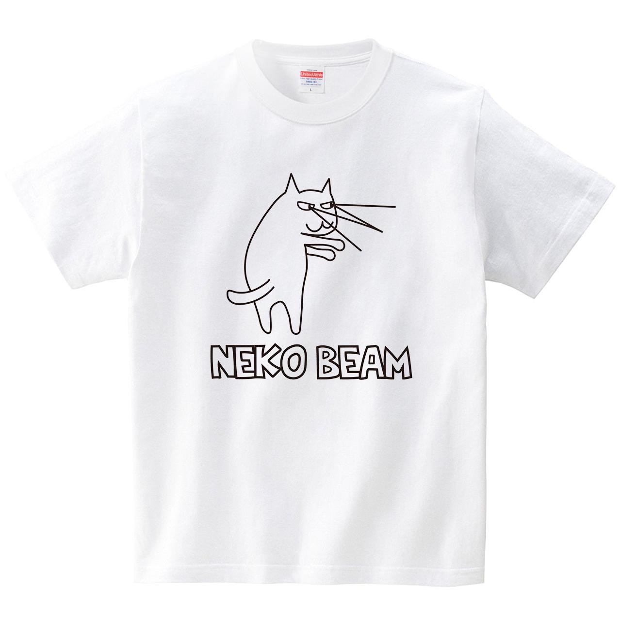 ネコビーム(Tシャツ・ホワイト)(CHATON_CATON_T)