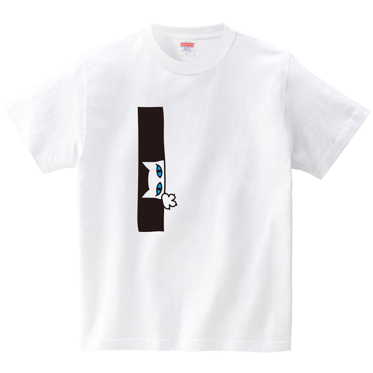覗きネコ(Tシャツ・ホワイト)(CHATON_CATON_T)