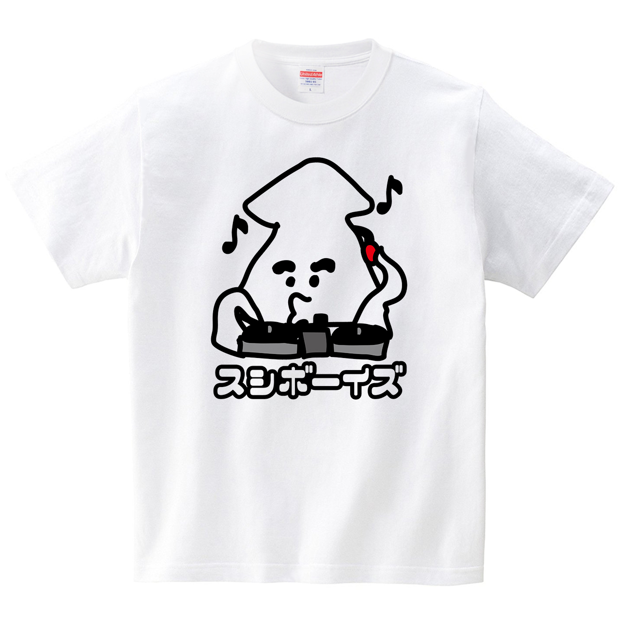 スシボーイズ  DJ(Tシャツ・ホワイト)(HSMT design)